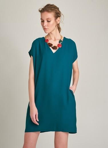 Monamoda V Yaka Cepli Basic Elbise Yeşil